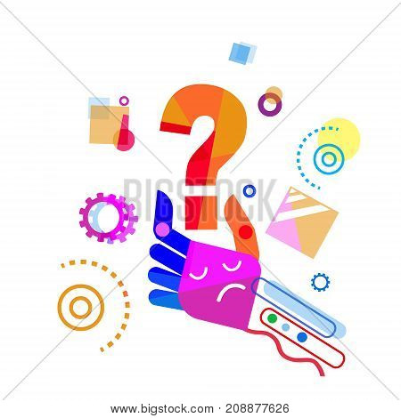 Abstract Hand Holding Question Mark Doodle Design Vector Illustration