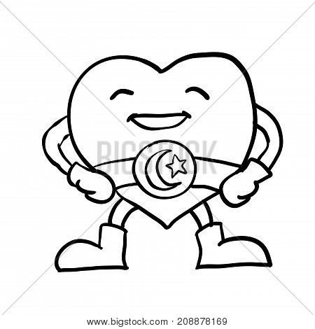 Hand drawing of Cartoon smiling Heart with Crescent star on belt Superhero Character Sketch design for coloring book.Vector Illustration. - Vector Illustration