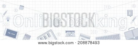 Online Banking Internet Electronic Payment Banner Over Squared Background Vector Illustration