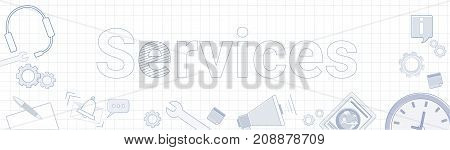 Services Word With Office Stuff Icons On Squared Background Customer Help Satisfaction Concept Vector Illustration