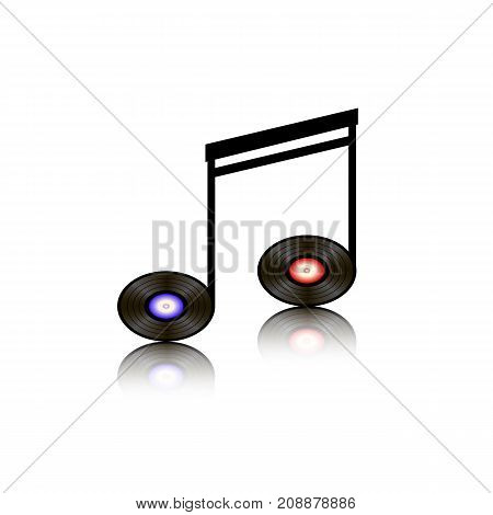 Record Musical Note Isolated on White Background