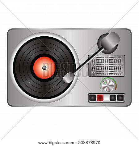 Grey record player icon with vinyl isolated on white background