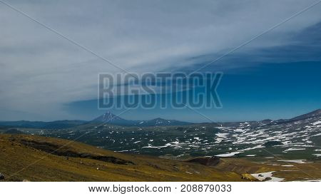 View to Viluchinsky volcano from the caldera of Mutnovsky Kamchatka peninsula Russia