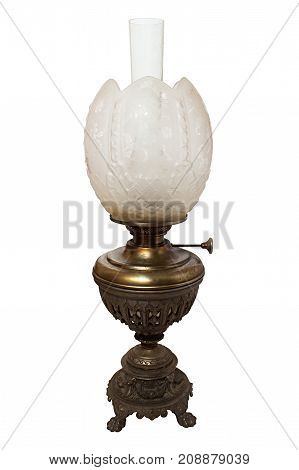 The Old, Shabby Kerosene Lamp. The Lamp Of Past Times. Isolated On A White Background. Made By Germa