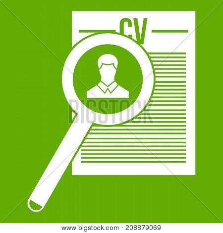 Magnifying glass over curriculum vita icon white isolated on green background. Vector illustration