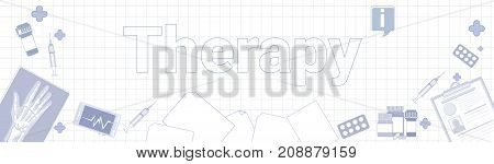 Teraphy Medicine Banner On Squared Notebook Paper Background Medical Treartment Concept Vector Illustration