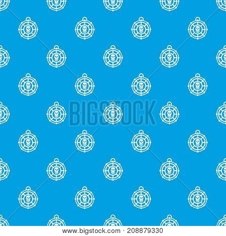Pirate amulet pattern repeat seamless in blue color for any design. Vector geometric illustration