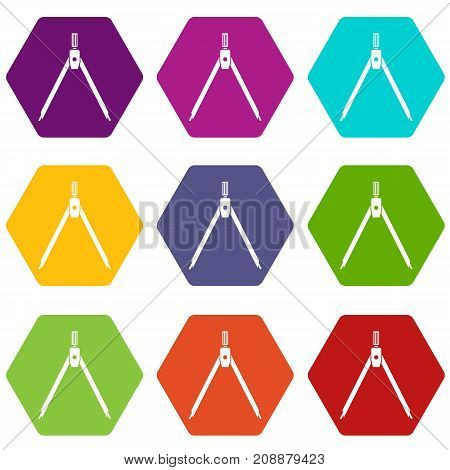 Drawing compass icon set many color hexahedron isolated on white vector illustration