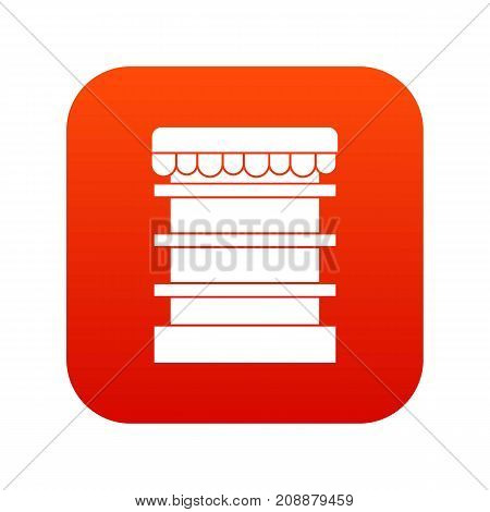 Empty supermarket refrigerator icon digital red for any design isolated on white vector illustration