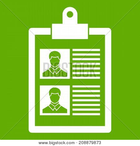 Resume of two candidates icon white isolated on green background. Vector illustration