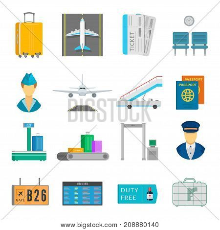 Airport service set. Passengers information for arrivals, departures and transfers. Vector flat style cartoon illustration isolated on white background