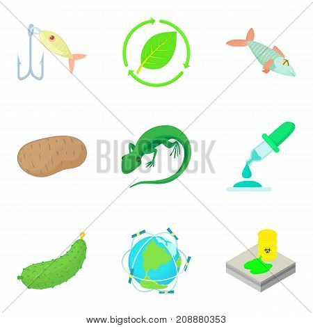 Research of world icons set. Cartoon set of 9 research of world vector icons for web isolated on white background