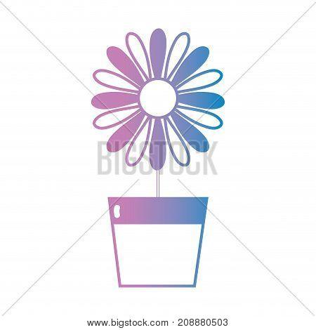 line natural flower with petals inside flowerpot vector illustration