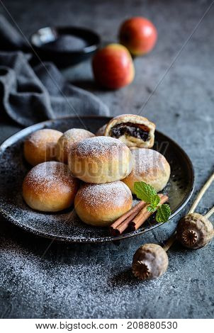 Homemade Buns Filled With Poppy Seeds And Apple