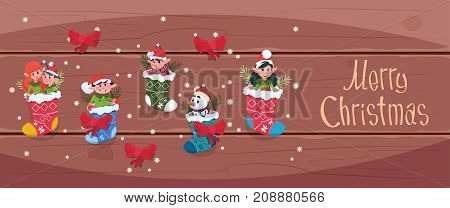 Merry Christmas And Happy New Year Greeting Card Santa Elfs Hanging In Present Socks Winter Holiday Concept Banner Flat Vector Illustration