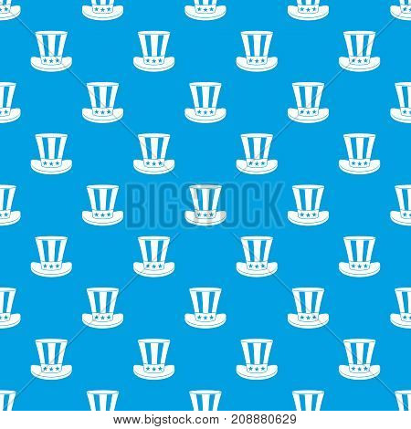 American hat pattern repeat seamless in blue color for any design. Vector geometric illustration