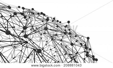 Abstract Polygonal with Connecting Dots and Lines. Connection science background. 3d rendering
