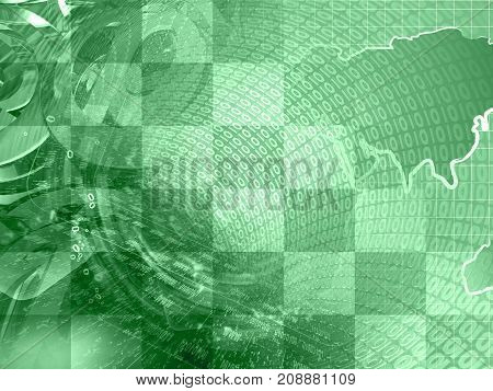 Abstract digital background in greens - map digits and mail signs.