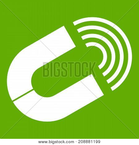 Horseshoe magnet icon white isolated on green background. Vector illustration