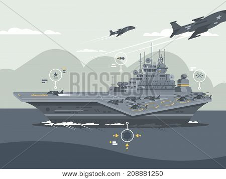 Military aircraft carrier. Huge warship with airplanes and helicopters. Vector illustration
