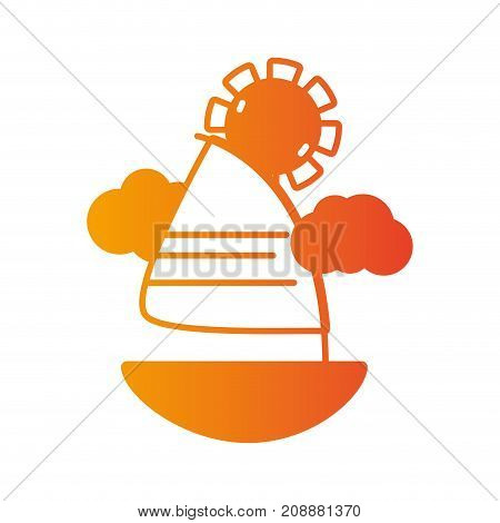 line sailing boat with clouds and sun weather vector illustration