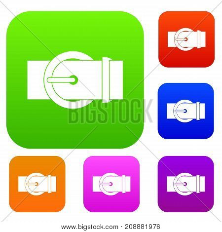 Circle belt buckle set icon color in flat style isolated on white. Collection sings vector illustration
