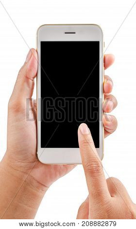 Hands holding and touching on mobile smartphone with blank screen Isolated on white background. Save clipping path.