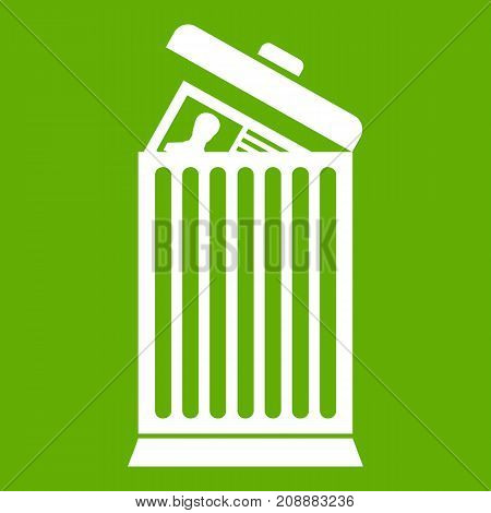 Resume thrown away in the trash can icon white isolated on green background. Vector illustration