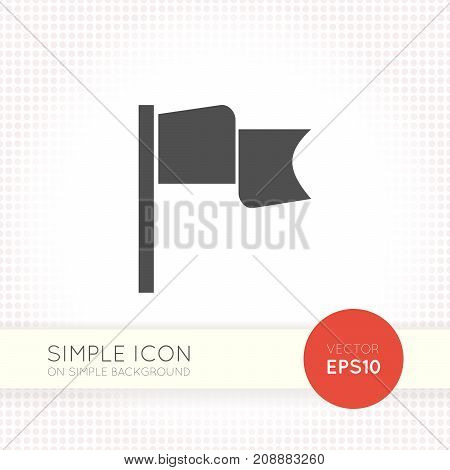 Flag flat style web icon isolated on simple white background. Dark grey banner sign for interfaces of website and app