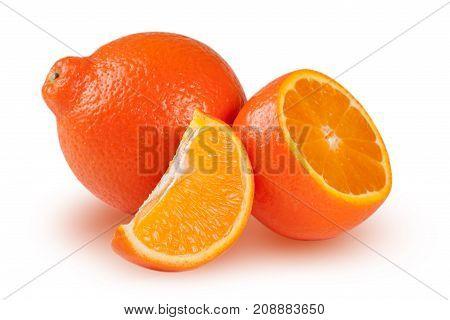 orange tangerine or Mineola with half and slice isolated on white background.