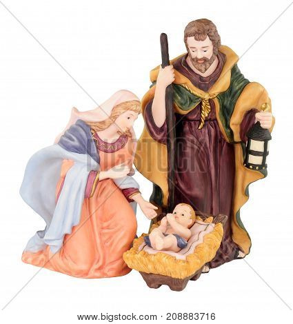 Traditional Christmas nativity with Mary and Joseph and Baby Jesus isolated on a white background