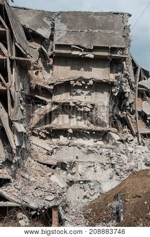 A dangerous destroyed building from steel concrete