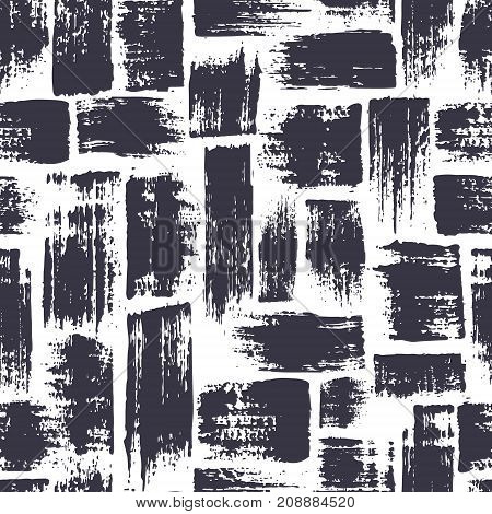 seamless pattern with brush stripes and strokes. Black color on white background. Hand painted grunge texture. Ink geometric elements. Fashion modern style. Endless fabric print. Retro
