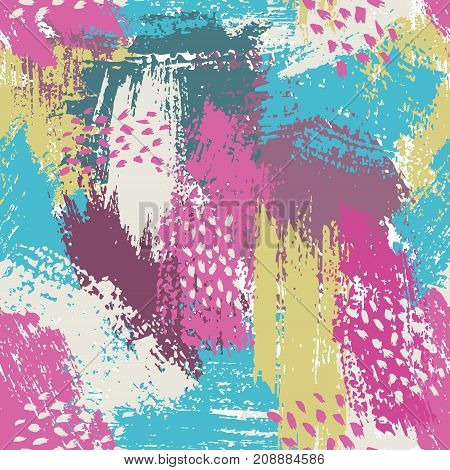 seamless pattern with brush stripes and strokes. Pink blue violet color. Background. Hand painted grunge texture. Ink geometric elements. Fashion modern style. Endless fabric print