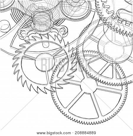 Cogs and Gears of Clock. Vector rendering of 3d. Wire-frame style