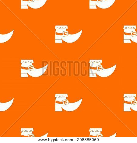 Boot with buckle pattern repeat seamless in orange color for any design. Vector geometric illustration