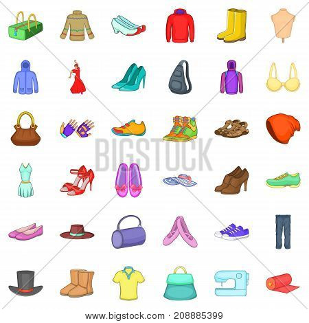 Vogue icons set. Cartoon style of 36 vogue vector icons for web isolated on white background