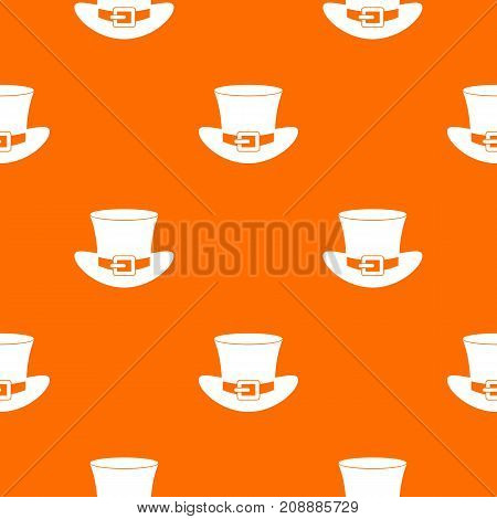 Top hat with buckle pattern repeat seamless in orange color for any design. Vector geometric illustration