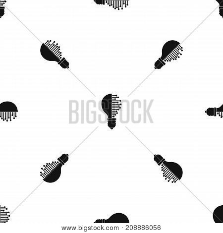 Lightbulb with microcircuit pattern repeat seamless in black color for any design. Vector geometric illustration