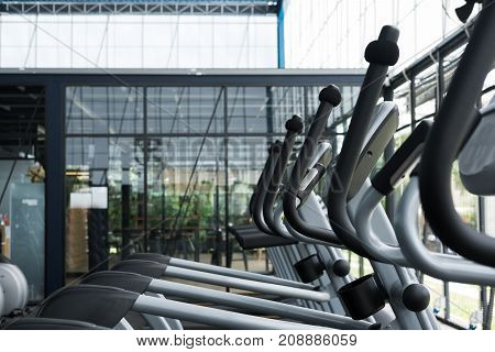 Fitness Facility Center, Gym Interior, Health Club With Sports Training Equipment For Aerobic Exerci
