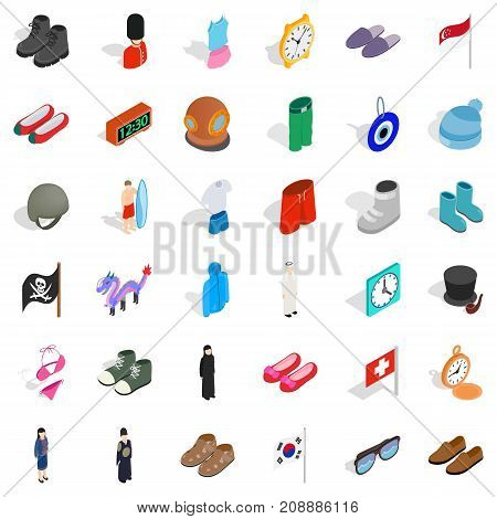 Fashion icons set. Isometric style of 36 fashion vector icons for web isolated on white background
