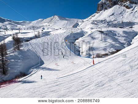 Skiing area in the Dolomites Alps. Overlooking the Sella group in Val Gardena. Italy
