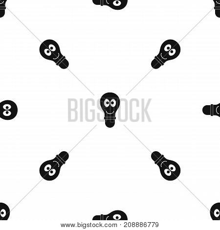 Smiling light bulb with eyes pattern repeat seamless in black color for any design. Vector geometric illustration