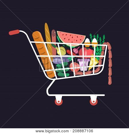 Supermarket cart with various healthy food in flat design. Shopping basket with fresh vegetables. vector illustration eps 10