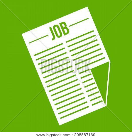 Newspaper with the headline Job icon white isolated on green background. Vector illustration
