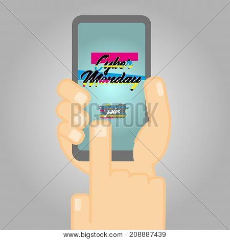 Cyber Monday Poster and Glitch Effect text. Illustration showing person's hand holding a smartphone. Can be used for special offers, online sales and web promotion.