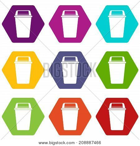 Plastic flip lid bin icon set many color hexahedron isolated on white vector illustration