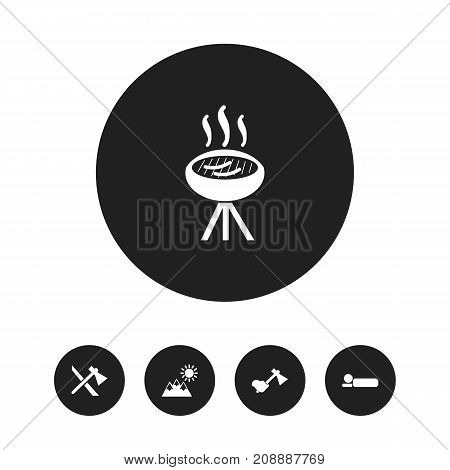 Set Of 5 Editable Camping Icons. Includes Symbols Such As Hatchet, Axe, Barbecue And More