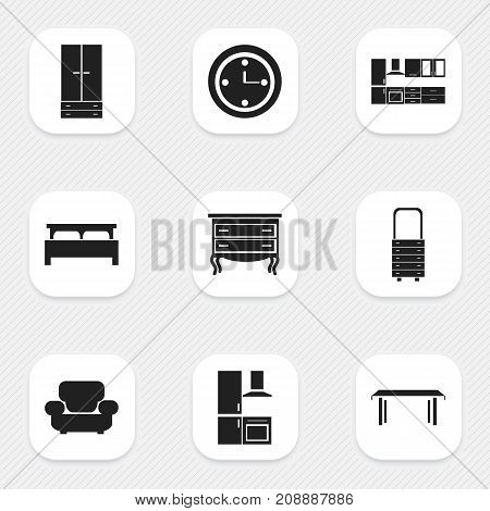 Set Of 9 Editable Interior Icons. Includes Symbols Such As Cabinet, Cooking Furnishings, Watch And More