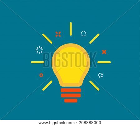 Creative idea with yellow light lamp bulb, line rays, design element on dark blue background. Business concept. Vector illustration
